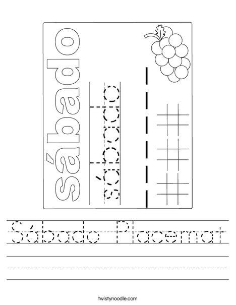 Sabado Placemat Worksheet