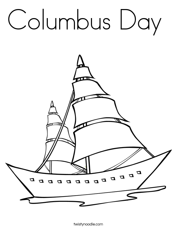 Columbus Day Boat Coloring Page | Coloring Page