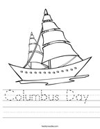 Columbus Day  Handwriting Sheet