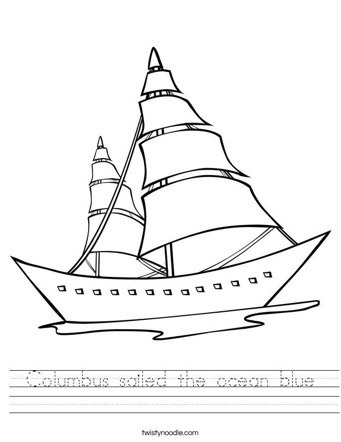 Columbus sailed the ocean blue Worksheet