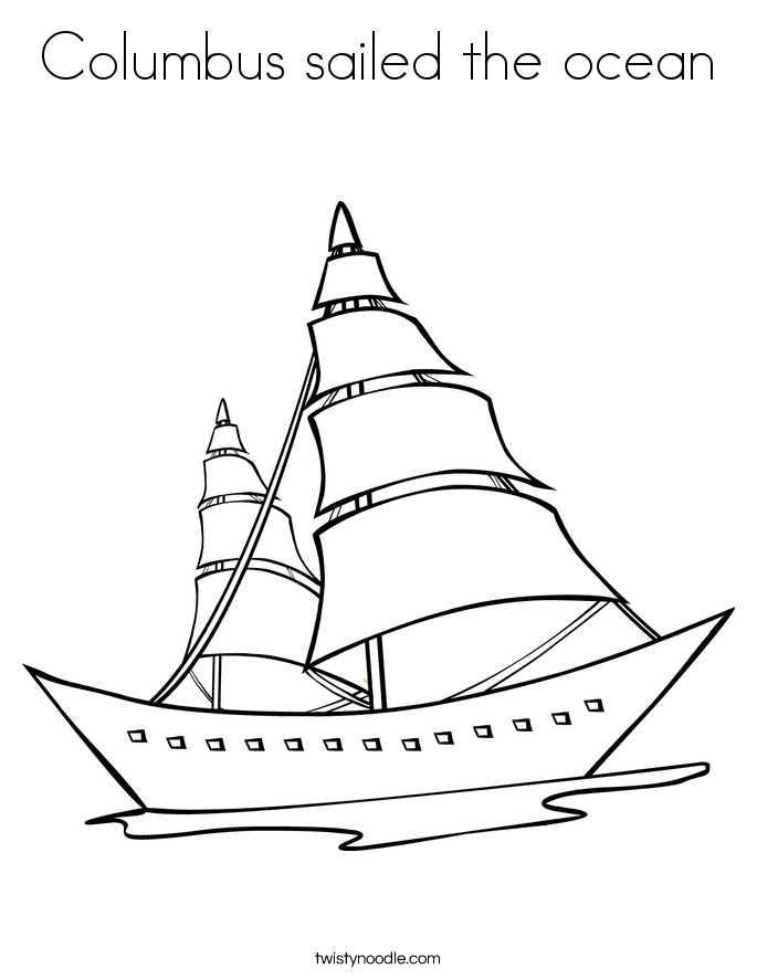 Columbus sailed the ocean Coloring Page