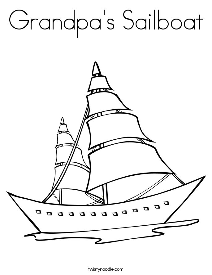 Grandpa's Sailboat Coloring Page