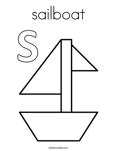 S is for Sailboat Coloring Page