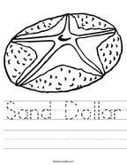 Sand Dollar Handwriting Sheet