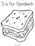 S is for Sandwich Coloring Page