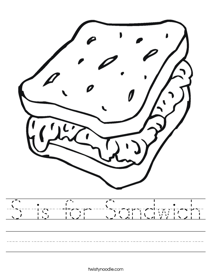 S Is For Sandwich Worksheet Twisty Noodle