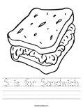 S is for Sandwich Worksheet