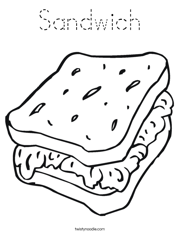 twisty noodle coloring pages - sandwich coloring page tracing twisty noodle