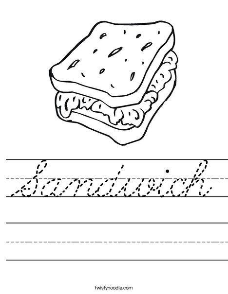 Sandwich Worksheet Cursive Twisty Noodle