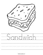 Sandwich Handwriting Sheet