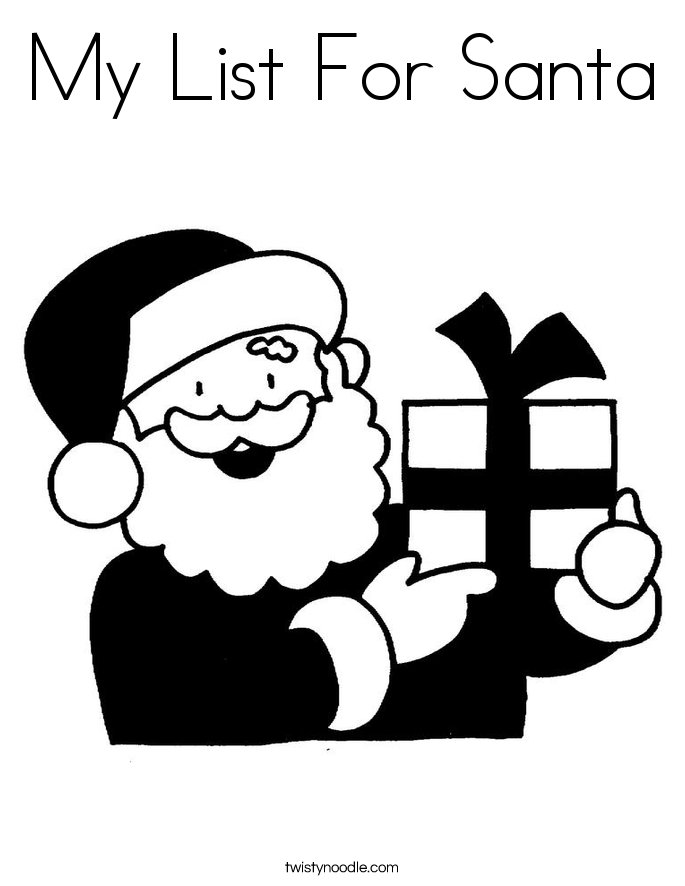 My List For Santa Coloring Page