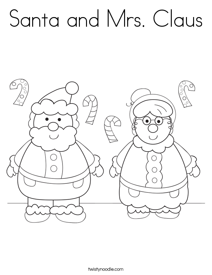 Santa and Mrs Claus Coloring Page