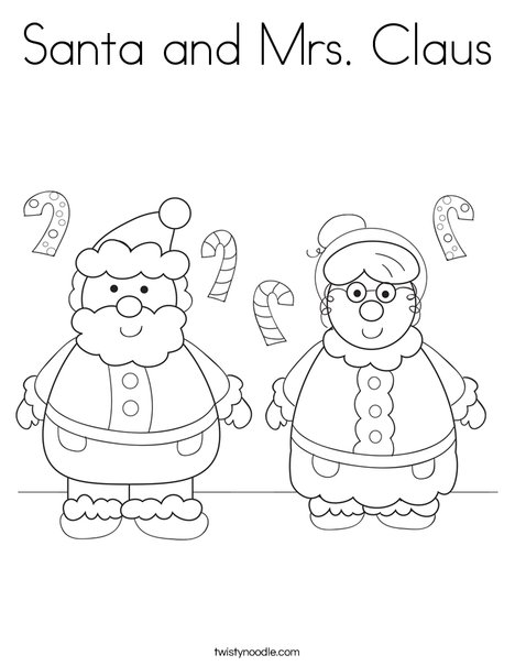 Santa and Mrs Claus Coloring Page - Twisty Noodle