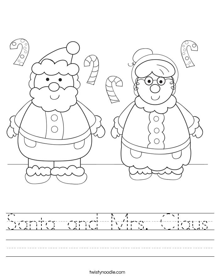 Santa And Mrs Claus Worksheet Twisty Noodle