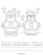 Santa and Mrs Claus Handwriting Sheet