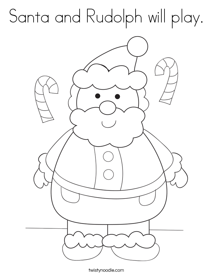 Santa and Rudolph will play Coloring Page - Twisty Noodle