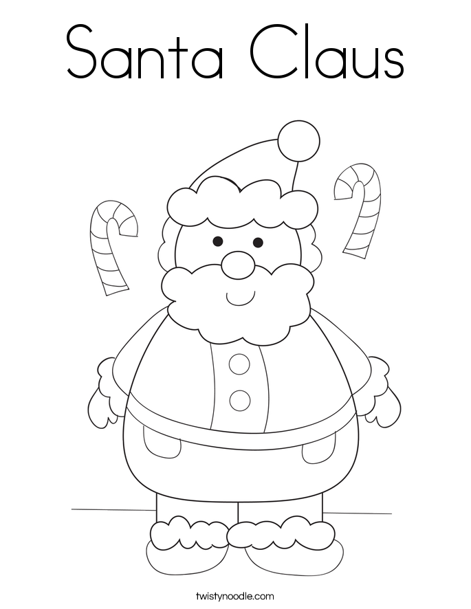 Santa claus coloring page twisty noodle for Santa claus printable coloring pages