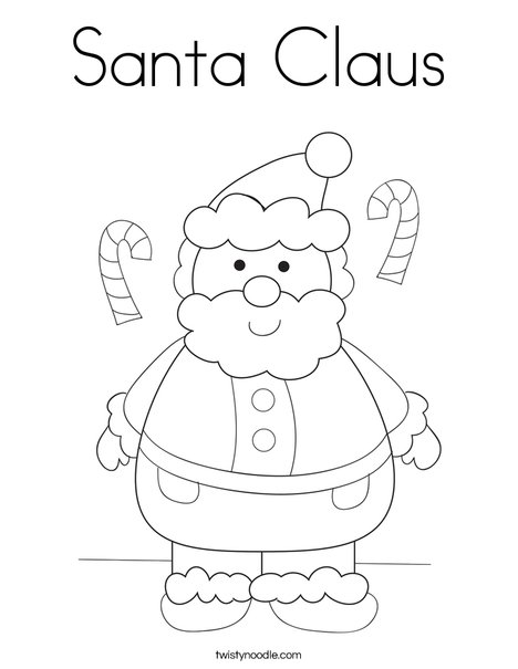 Santa claus coloring page twisty noodle for Santa claus coloring pages online