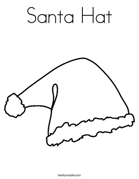 Santa Hat Coloring Page - Twisty Noodle