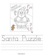 Santa Puzzle Handwriting Sheet