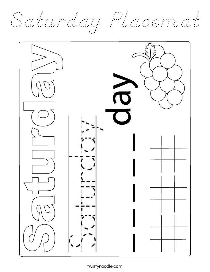 Saturday Placemat Coloring Page