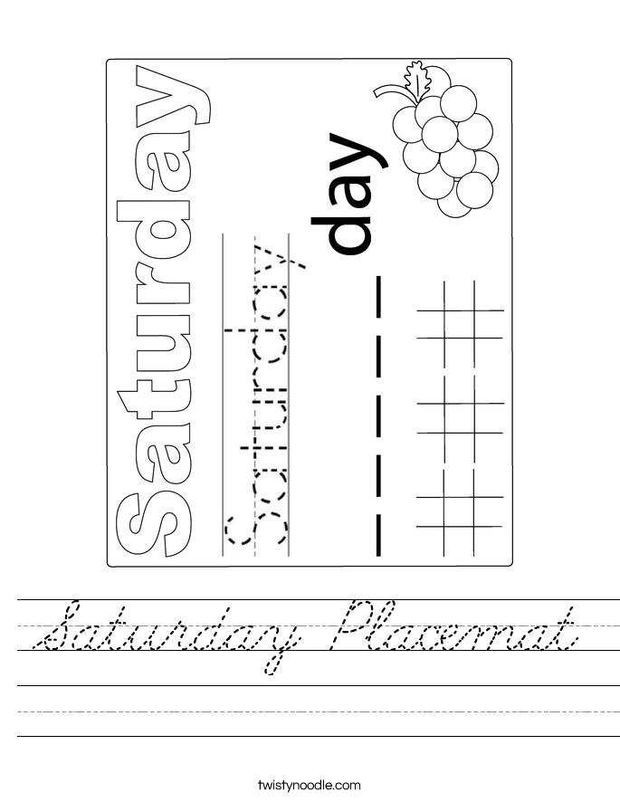 Saturday Placemat Worksheet