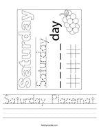 Saturday Placemat Handwriting Sheet
