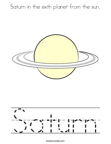 Saturn is the sixth planet from the sun. Coloring Page