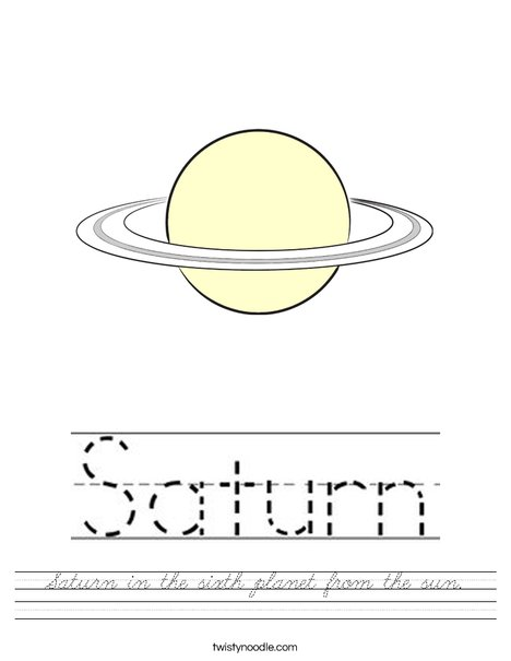 Saturn is the sixth planet from the sun. Worksheet