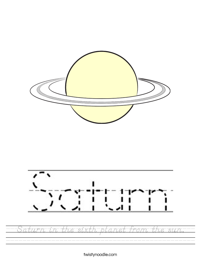 Saturn in the sixth planet from the sun. Worksheet