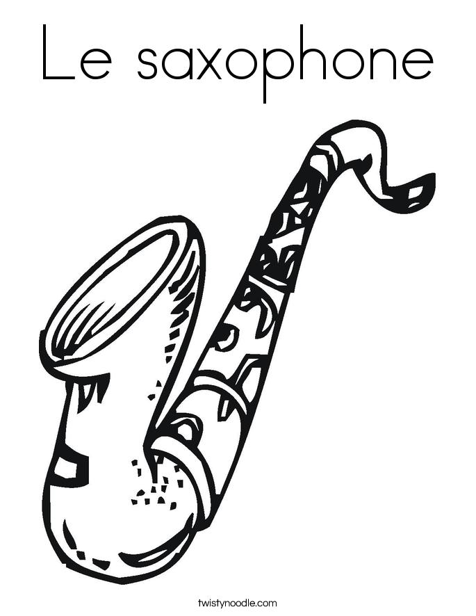 Le saxophone Coloring Page