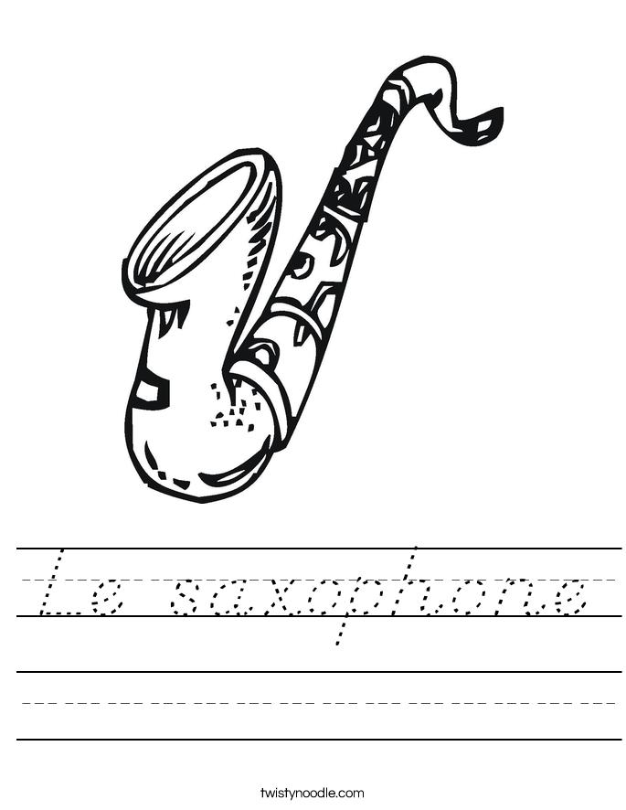 Le saxophone Worksheet