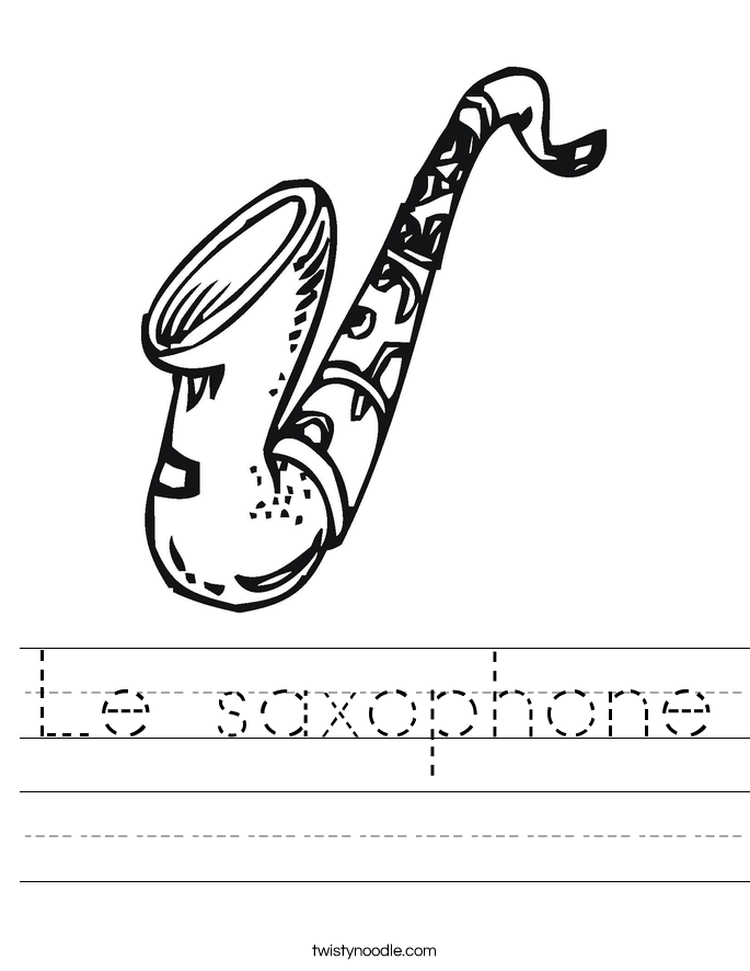 Le saxophone Worksheet