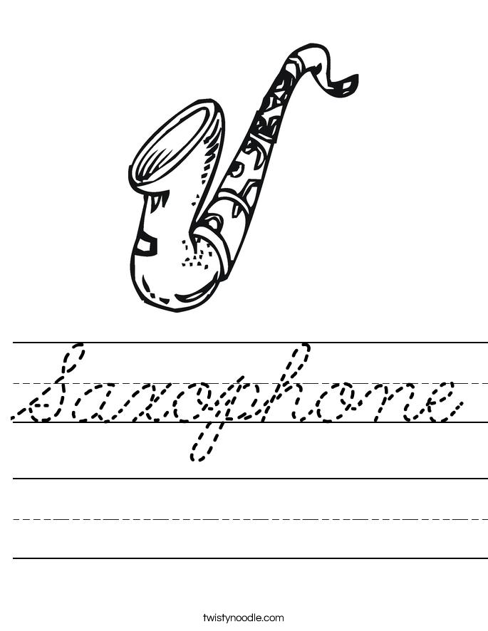 Saxophone Worksheet