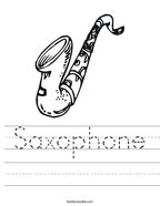 Saxophone Handwriting Sheet