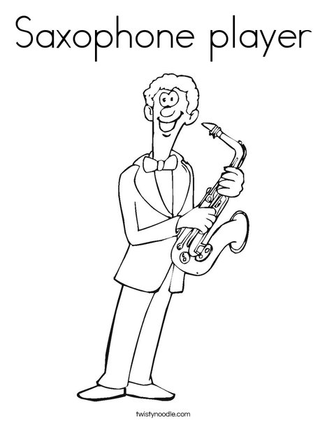 saxophone player coloring page