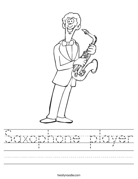 Saxophone Player Worksheet
