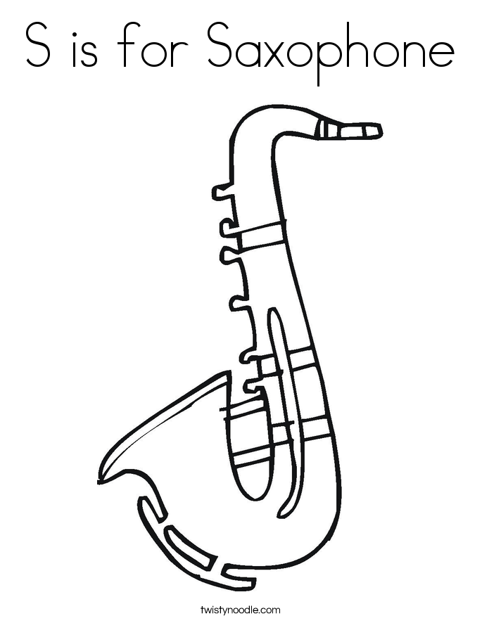 S is for Saxophone Coloring Page