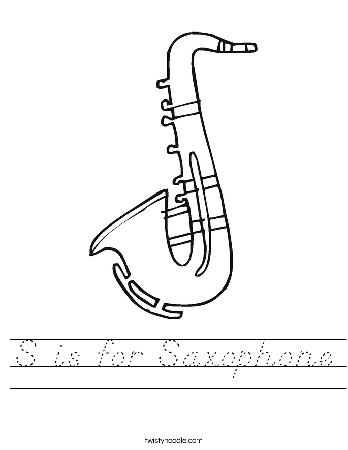 S is for Saxophone Worksheet