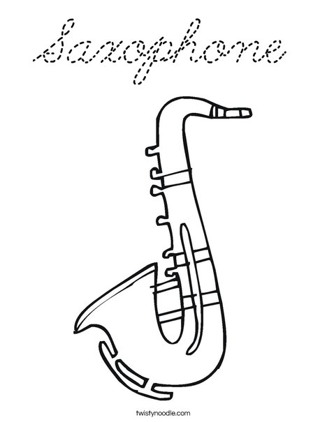 Saxophone Coloring PageSaxophone Coloring Pages