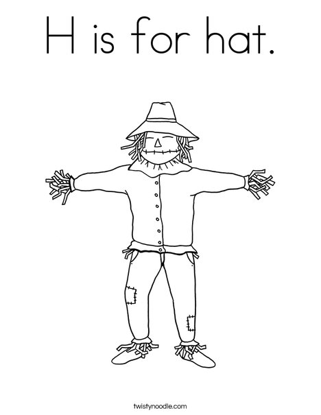 H is for halloween coloring pages ~ H is for hat Coloring Page - Twisty Noodle