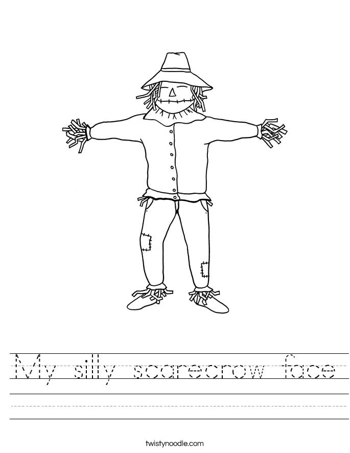 My silly scarecrow face Worksheet