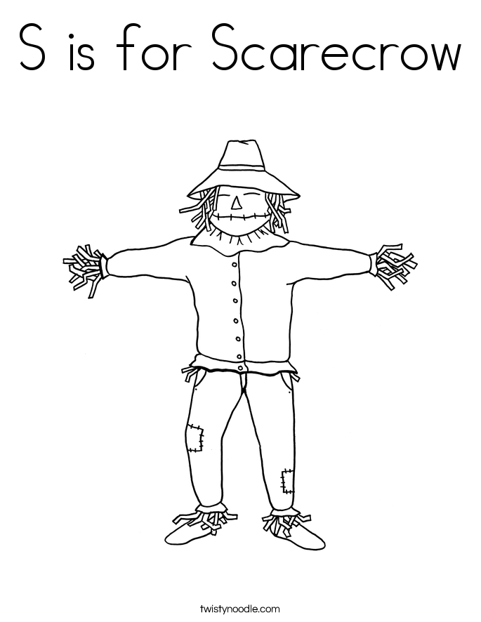 S is for Scarecrow Coloring Page