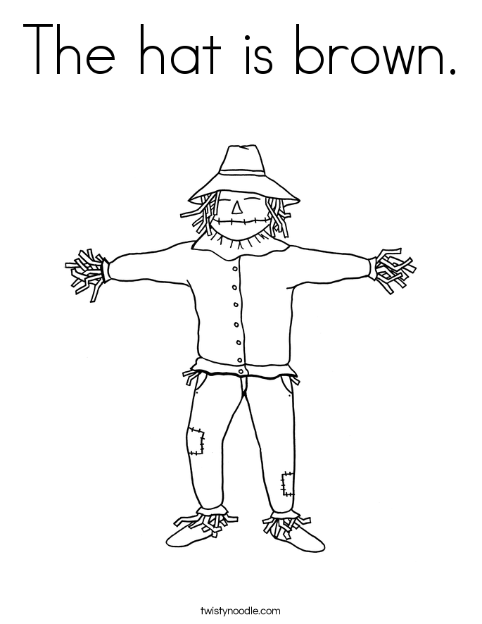 The hat is brown. Coloring Page