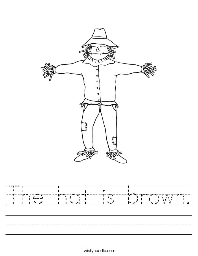 The hat is brown. Worksheet
