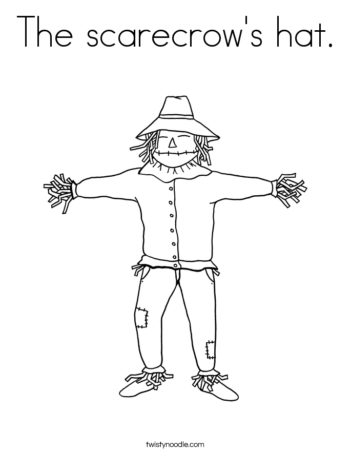 The scarecrow's hat. Coloring Page
