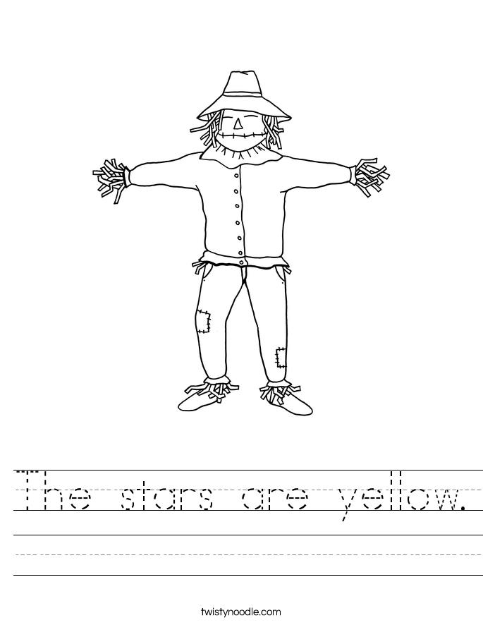 The stars are yellow. Worksheet