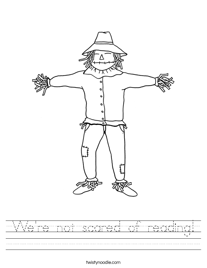We're not scared of reading! Worksheet