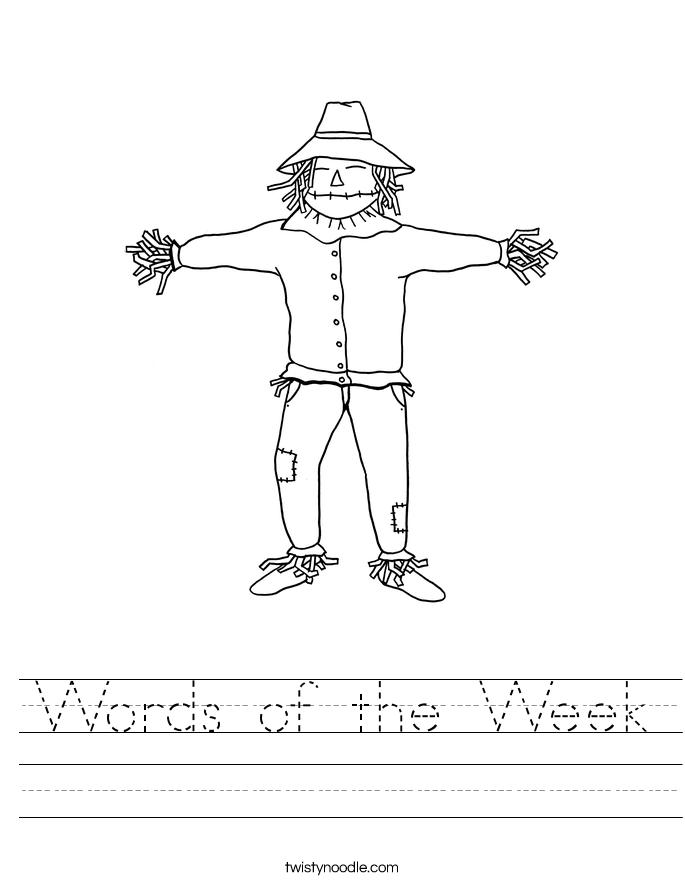 Words of the Week Worksheet