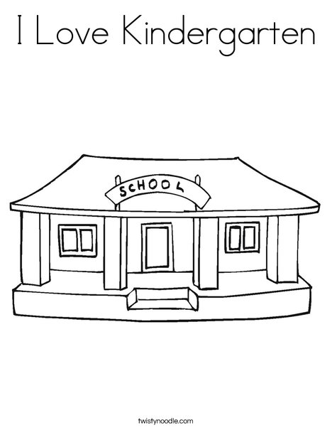 i love my school coloring page - Kindergarten Coloring Page